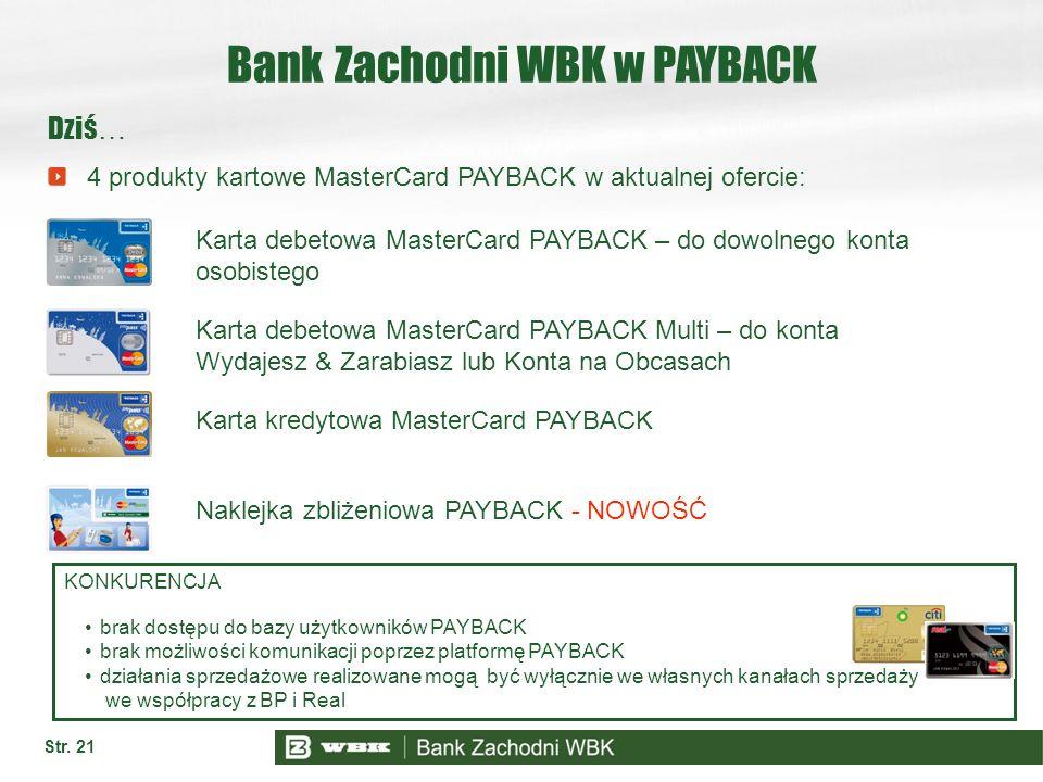 Str. 21 Bank Zachodni WBK w PAYBACK Dziś … 4 produkty kartowe MasterCard PAYBACK w aktualnej ofercie: KONKURENCJA brak dostępu do bazy użytkowników PA
