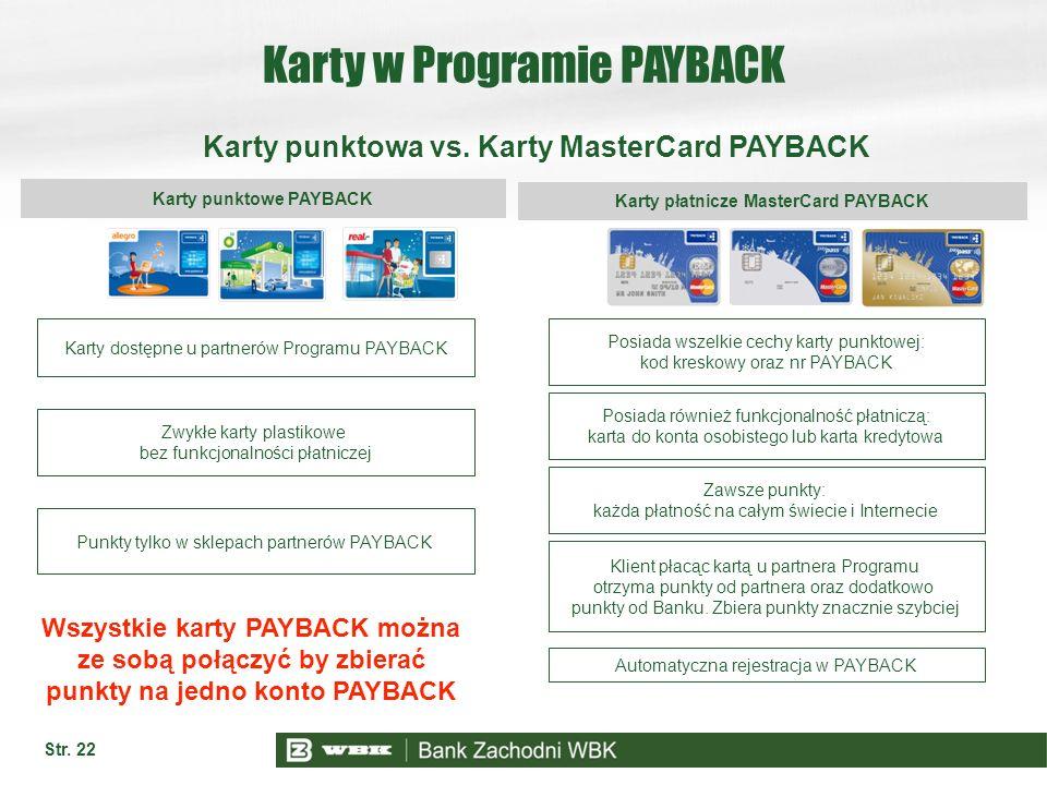 Str. 22 Karty w Programie PAYBACK Karty punktowa vs. Karty MasterCard PAYBACK Karty punktowe PAYBACK Karty płatnicze MasterCard PAYBACK Karty dostępne