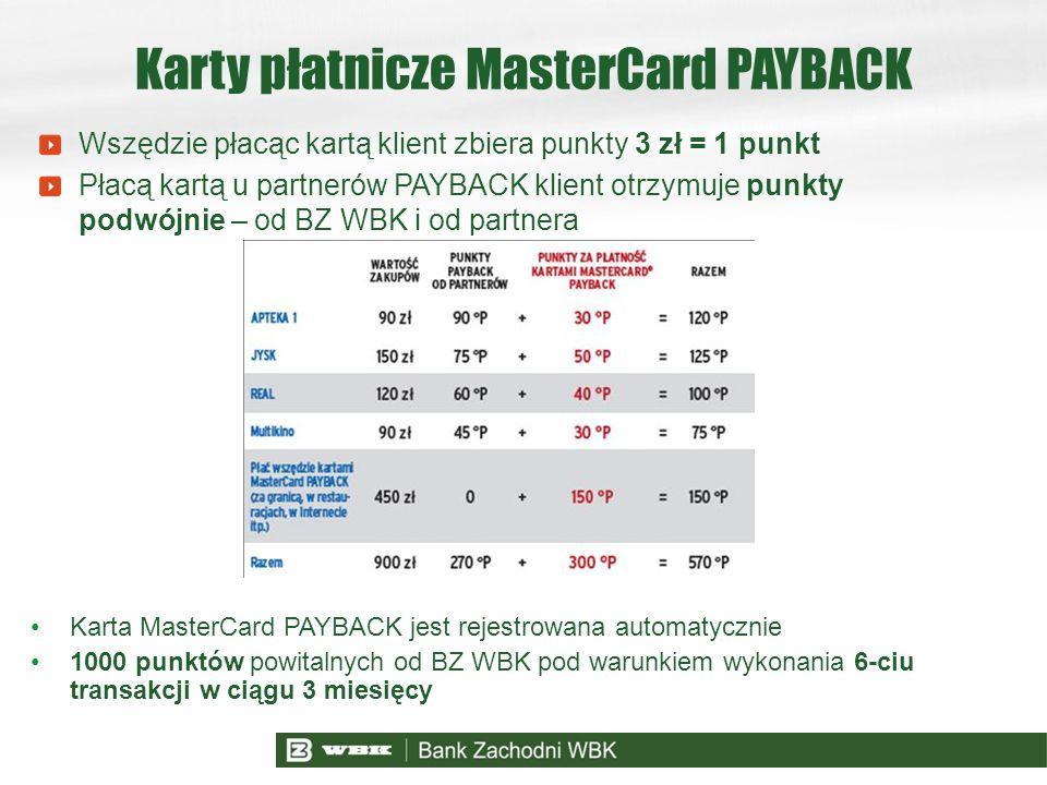 Wszędzie płacąc kartą klient zbiera punkty 3 zł = 1 punkt Płacą kartą u partnerów PAYBACK klient otrzymuje punkty podwójnie – od BZ WBK i od partnera