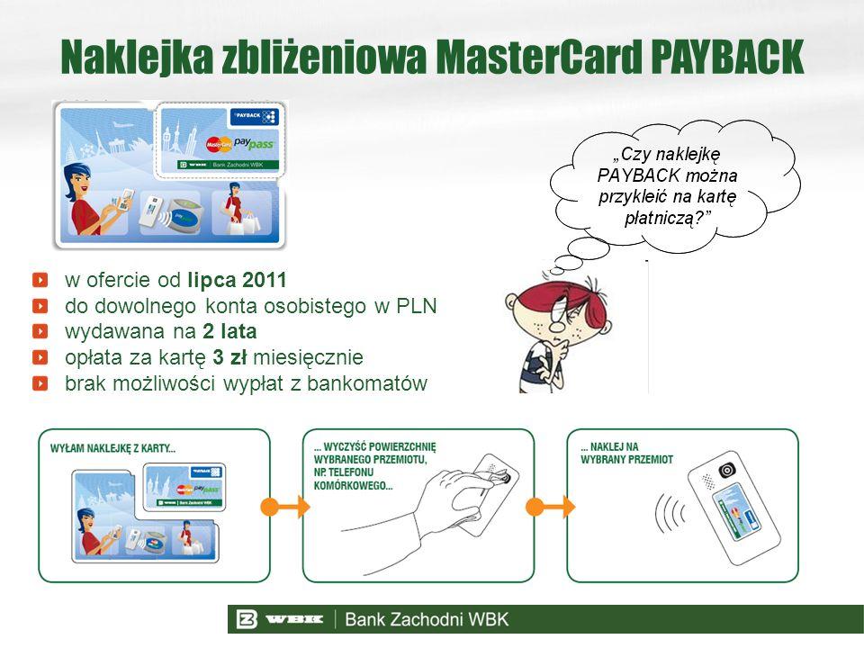 w ofercie od lipca 2011 do dowolnego konta osobistego w PLN wydawana na 2 lata opłata za kartę 3 zł miesięcznie brak możliwości wypłat z bankomatów Na