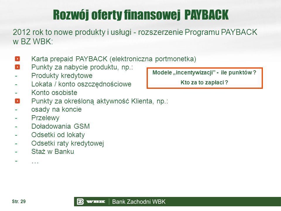 Str. 29 Rozwój oferty finansowej PAYBACK Karta prepaid PAYBACK (elektroniczna portmonetka) Punkty za nabycie produktu, np.: -Produkty kredytowe -Lokat