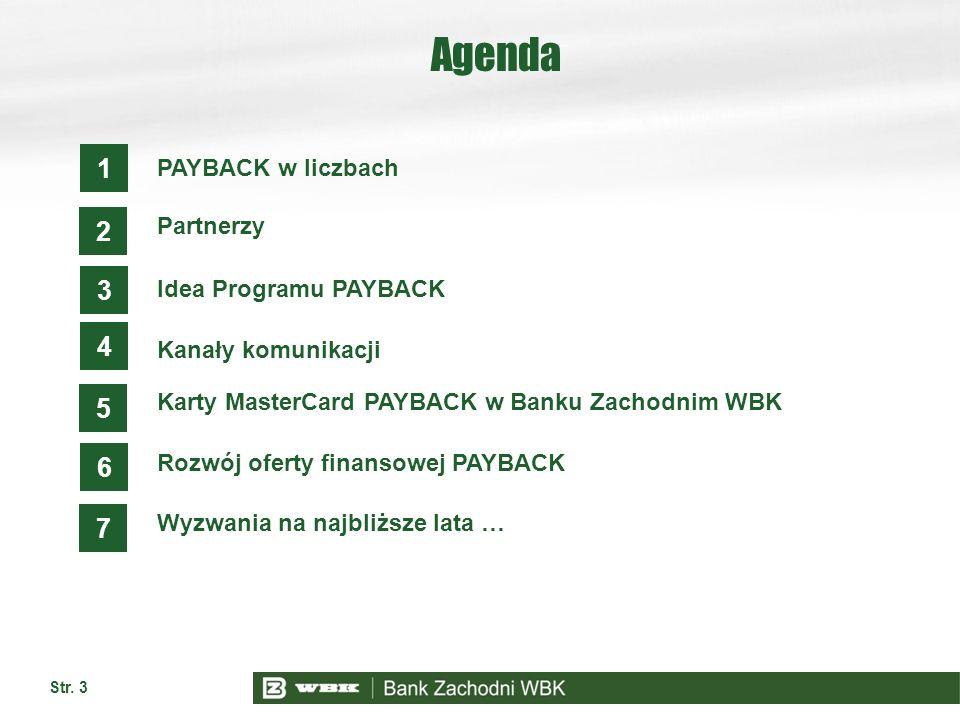 Agenda PAYBACK w liczbach 1 2 Idea Programu PAYBACK 3 4 Partnerzy 5 Kanały komunikacji 6 Karty MasterCard PAYBACK w Banku Zachodnim WBK Str. 3 Rozwój