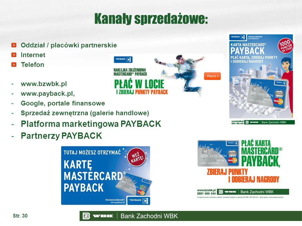Str. 30 Kanały sprzedażowe: Oddział / placówki partnerskie Internet Telefon -www.bzwbk.pl -www.payback.pl, -Google, portale finansowe -Sprzedaż zewnęt