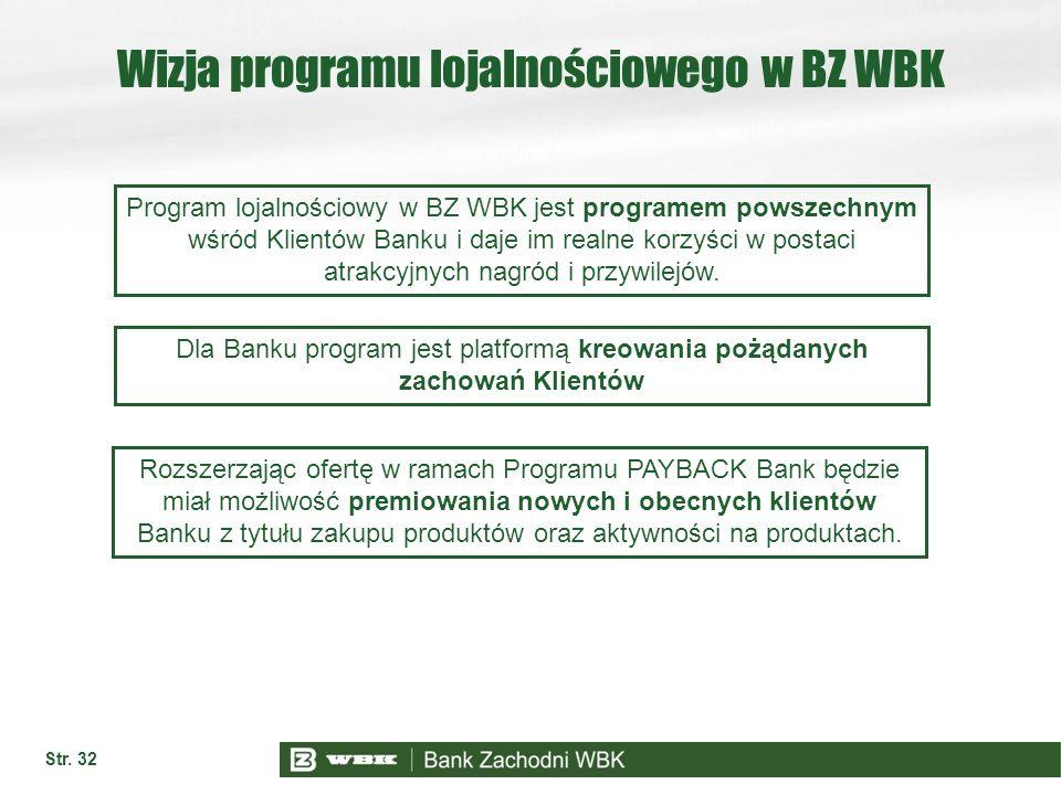 Wizja programu lojalnościowego w BZ WBK Str. 32 Program lojalnościowy w BZ WBK jest programem powszechnym wśród Klientów Banku i daje im realne korzyś