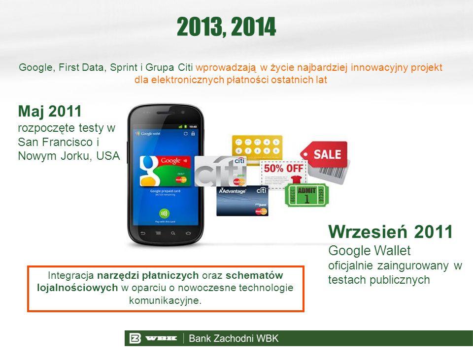 2013, 2014 Maj 2011 rozpoczęte testy w San Francisco i Nowym Jorku, USA Google, First Data, Sprint i Grupa Citi wprowadzają w życie najbardziej innowa
