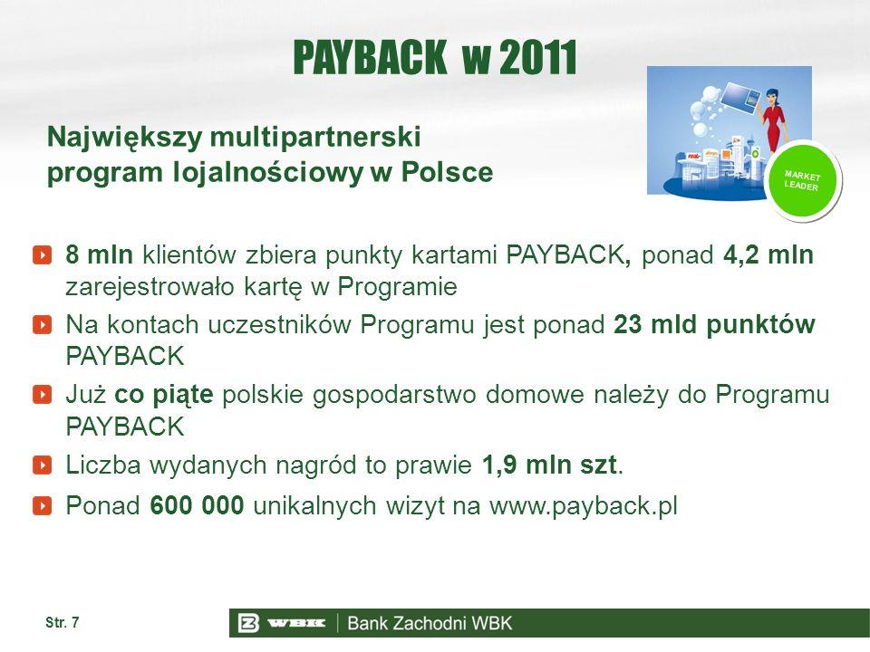 Str. 7 PAYBACK w 2011 8 mln klientów zbiera punkty kartami PAYBACK, ponad 4,2 mln zarejestrowało kartę w Programie Na kontach uczestników Programu jes