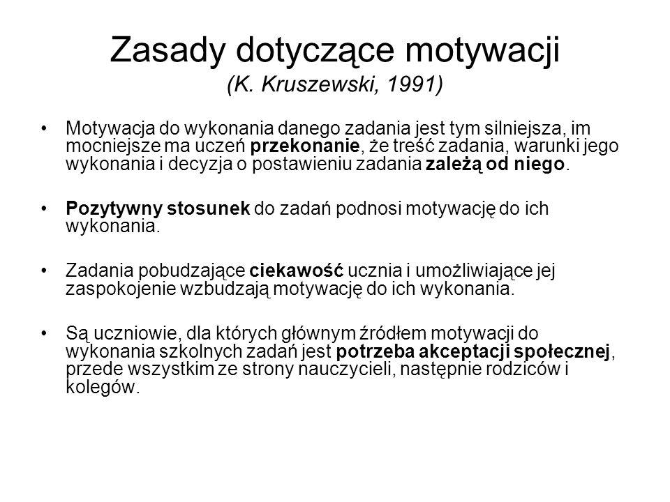 Zasady dotyczące motywacji (K. Kruszewski, 1991) Motywacja do wykonania danego zadania jest tym silniejsza, im mocniejsze ma uczeń przekonanie, że tre