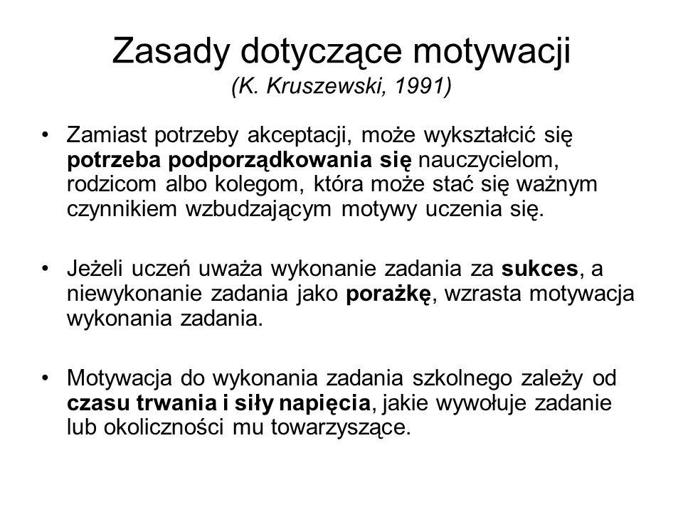 Zasady dotyczące motywacji (K. Kruszewski, 1991) Zamiast potrzeby akceptacji, może wykształcić się potrzeba podporządkowania się nauczycielom, rodzico