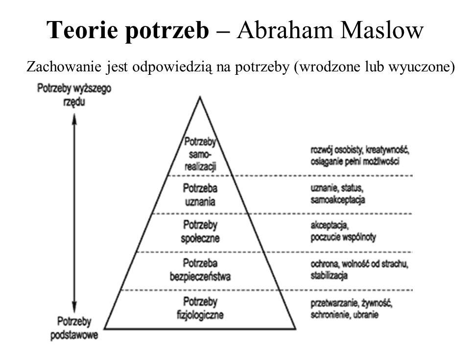 Teorie celów Od presji zewnętrznej do wnętrza człowieka 6 kategorii celów Forda: 1.EMOCJONALNE: rozrywka, spokój, zadowolenie 2.POZNAWCZE: ciekawość, dochodzenie do wiedzy, twórczość 3.SUBIEKTYWNA HARMONIA: integralność z ludźmi, naturą, mocą 4.WŁASNE INTERESY: indywidualność, samostanowienie, wyższość 5.INTEGRACJA POPRZEZ STODUNKI SPOŁECZNE: przynależność, sprawiedliwość 6.ZADANIOWE: mistrzostwo, oryginalność, zorganizowanie Im więcej celów, tym większa motywacja