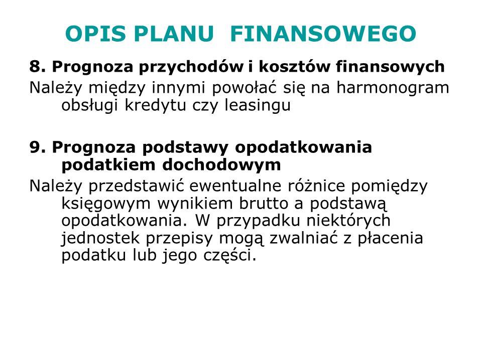 OPIS PLANU FINANSOWEGO 8.