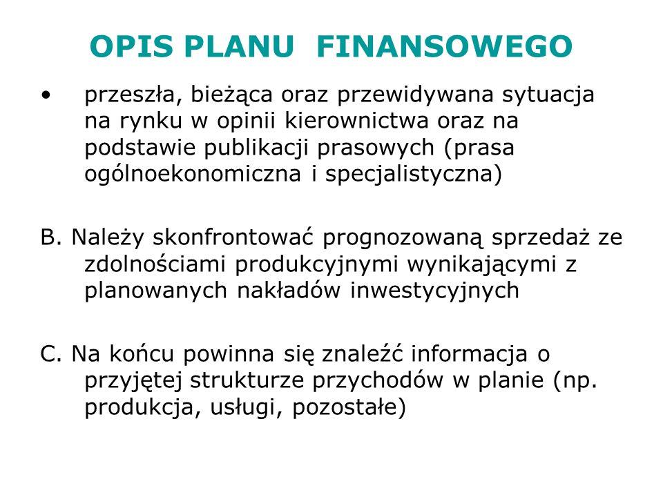OPIS PLANU FINANSOWEGO 4.2.Wyniki prognozy przychodów Należy przedstawić w formie tabelarycznej 5.