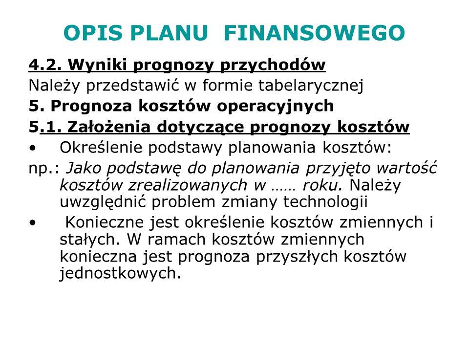 OPIS PLANU FINANSOWEGO 5.1.