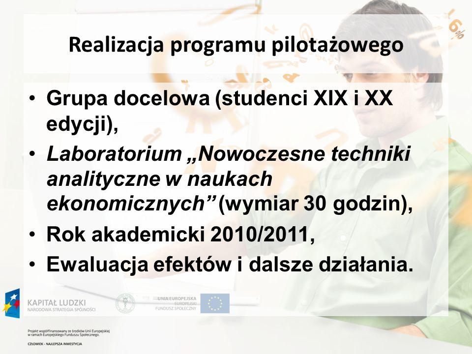 Realizacja programu pilotażowego Grupa docelowa (studenci XIX i XX edycji), Laboratorium Nowoczesne techniki analityczne w naukach ekonomicznych (wymi