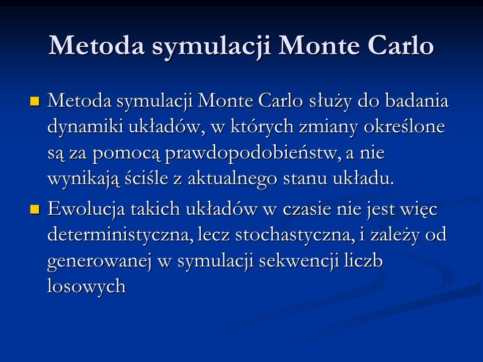 Metoda symulacji Monte Carlo Metoda symulacji Monte Carlo służy do badania dynamiki układów, w których zmiany określone są za pomocą prawdopodobieństw