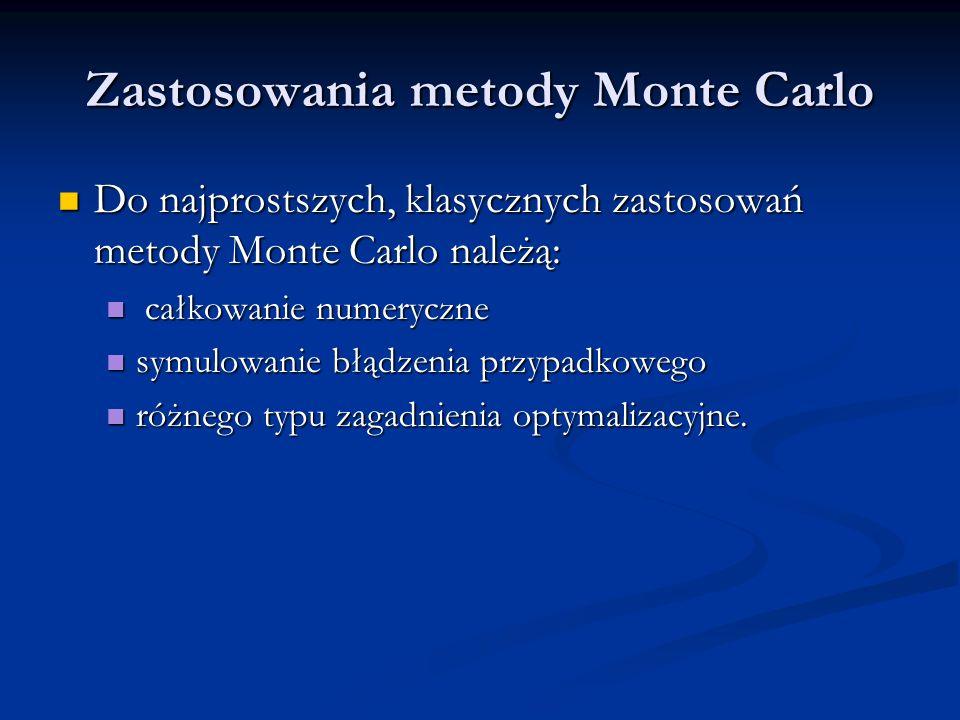 Zastosowania metody Monte Carlo Do najprostszych, klasycznych zastosowań metody Monte Carlo należą: Do najprostszych, klasycznych zastosowań metody Mo