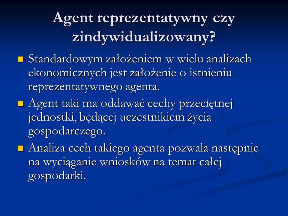 Agent reprezentatywny czy zindywidualizowany? Standardowym założeniem w wielu analizach ekonomicznych jest założenie o istnieniu reprezentatywnego age