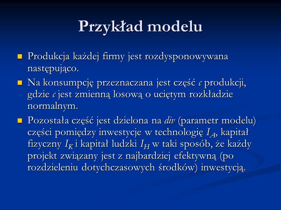 Przykład modelu Produkcja każdej firmy jest rozdysponowywana następująco. Produkcja każdej firmy jest rozdysponowywana następująco. Na konsumpcję prze