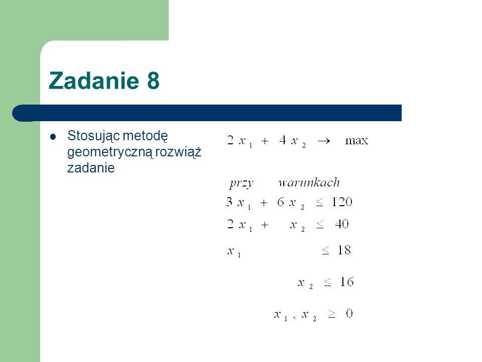 Zadanie 8 Stosując metodę geometryczną rozwiąż zadanie