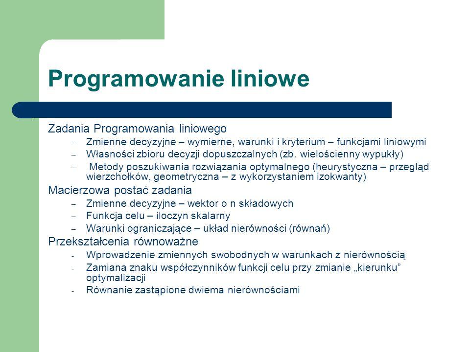 Programowanie liniowe Zadania Programowania liniowego – Zmienne decyzyjne – wymierne, warunki i kryterium – funkcjami liniowymi – Własności zbioru dec