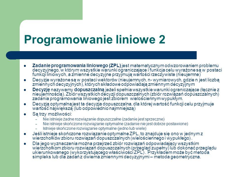 Programowanie liniowe 2 Zadanie programowania liniowego (ZPL) jest matematycznym odwzorowaniem problemu decyzyjnego, w którym wszystkie warunki ograni