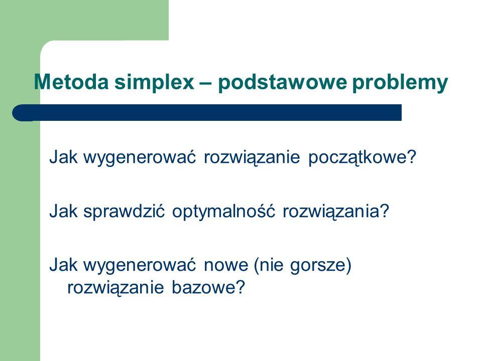 Metoda simplex – podstawowe problemy Jak wygenerować rozwiązanie początkowe? Jak sprawdzić optymalność rozwiązania? Jak wygenerować nowe (nie gorsze)