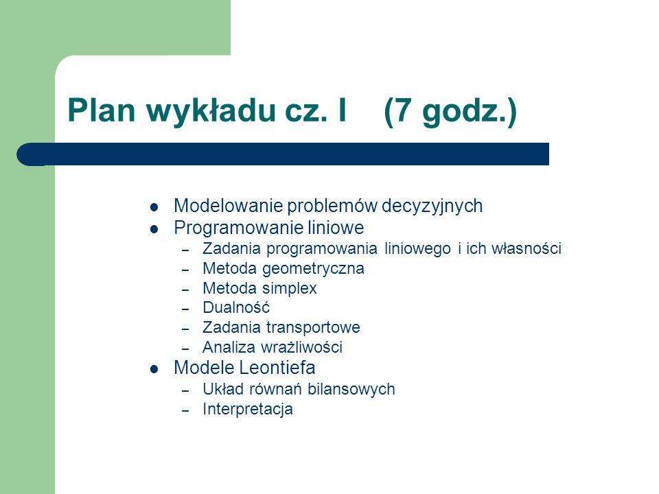 Plan wykładu cz. I (7 godz.) Modelowanie problemów decyzyjnych Programowanie liniowe – Zadania programowania liniowego i ich własności – Metoda geomet