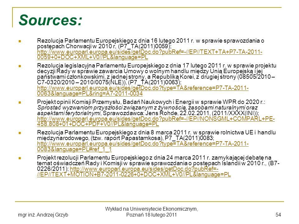 Sources: Rezolucja Parlamentu Europejskiego z dnia 16 lutego 2011 r. w sprawie sprawozdania o postępach Chorwacji w 2010 r, (P7_TA(2011)0059); http://