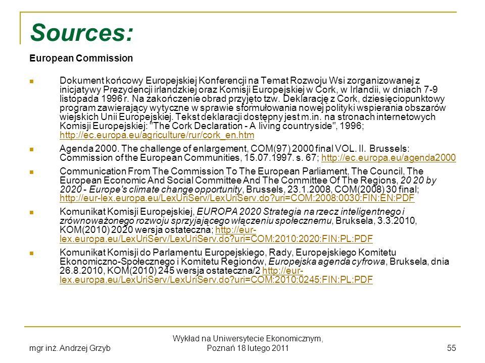 Sources: European Commission Dokument końcowy Europejskiej Konferencji na Temat Rozwoju Wsi zorganizowanej z inicjatywy Prezydencji irlandzkiej oraz K