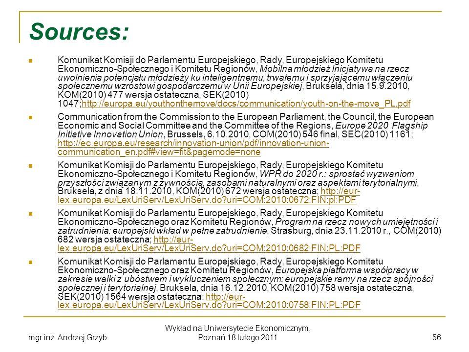 Sources: Komunikat Komisji do Parlamentu Europejskiego, Rady, Europejskiego Komitetu Ekonomiczno-Społecznego i Komitetu Regionów, Mobilna młodzież Ini