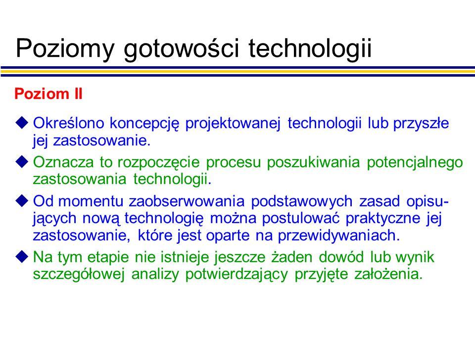 Poziomy gotowości technologii Poziom II uOkreślono koncepcję projektowanej technologii lub przyszłe jej zastosowanie.