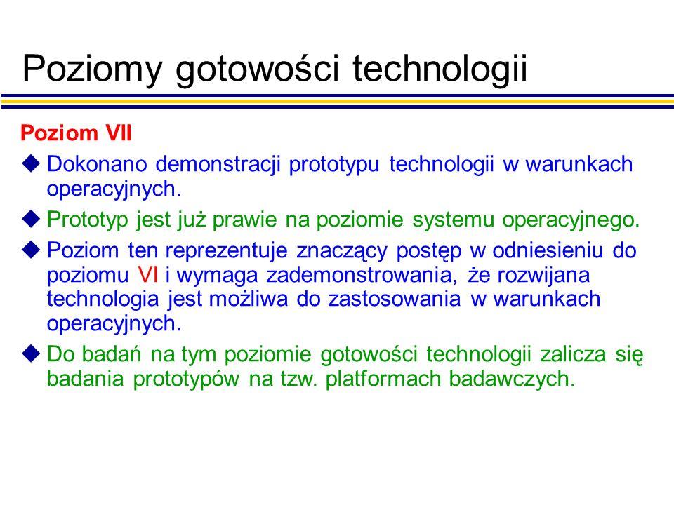 Poziomy gotowości technologii Poziom VII uDokonano demonstracji prototypu technologii w warunkach operacyjnych.
