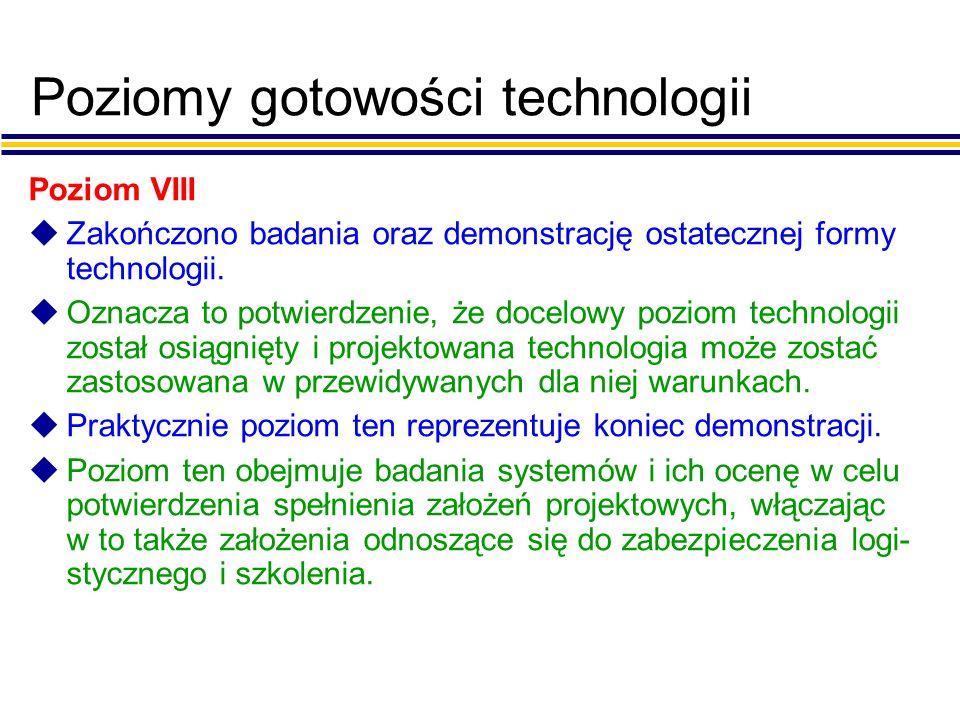 Poziomy gotowości technologii Poziom VIII uZakończono badania oraz demonstrację ostatecznej formy technologii.