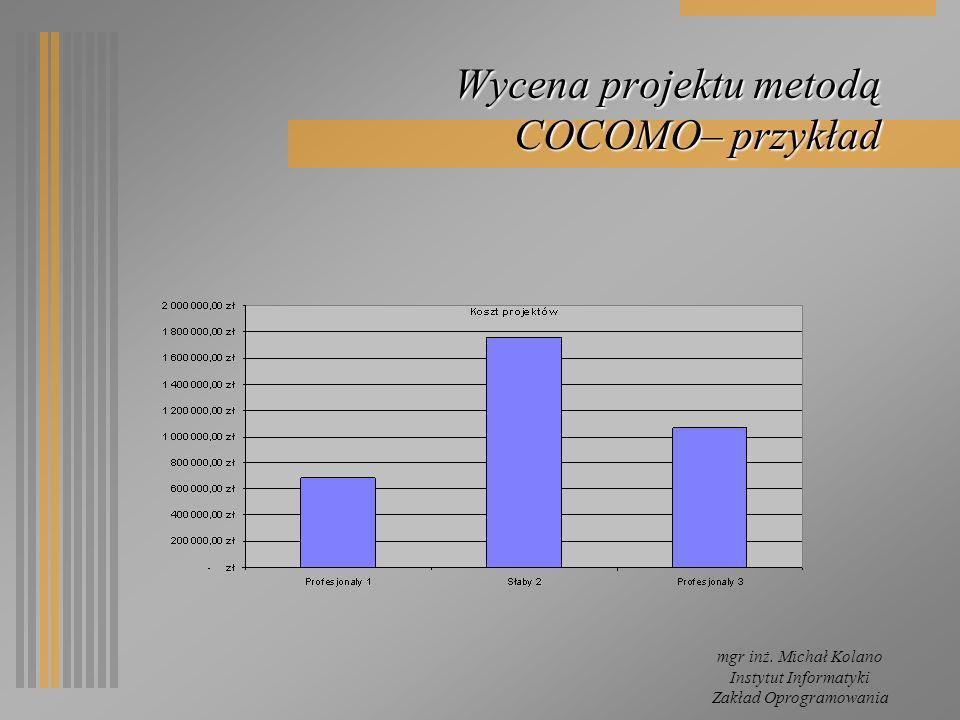 mgr inż. Michał Kolano Instytut Informatyki Zakład Oprogramowania Wycena projektu metodą COCOMO– przykład