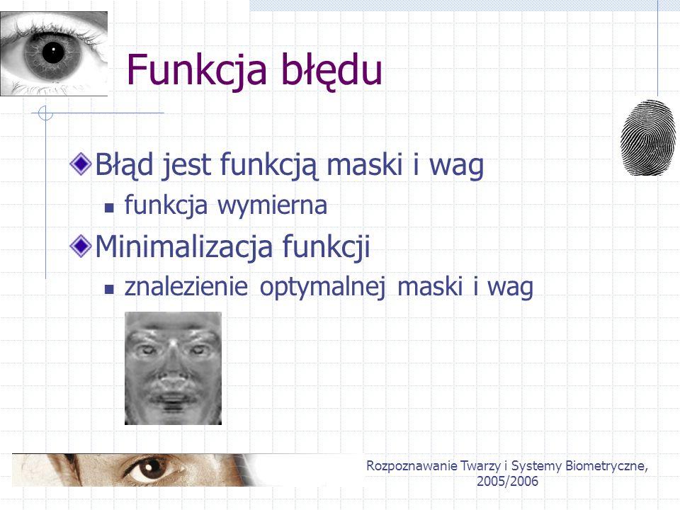 Rozpoznawanie Twarzy i Systemy Biometryczne, 2005/2006 Funkcja błędu Błąd jest funkcją maski i wag funkcja wymierna Minimalizacja funkcji znalezienie