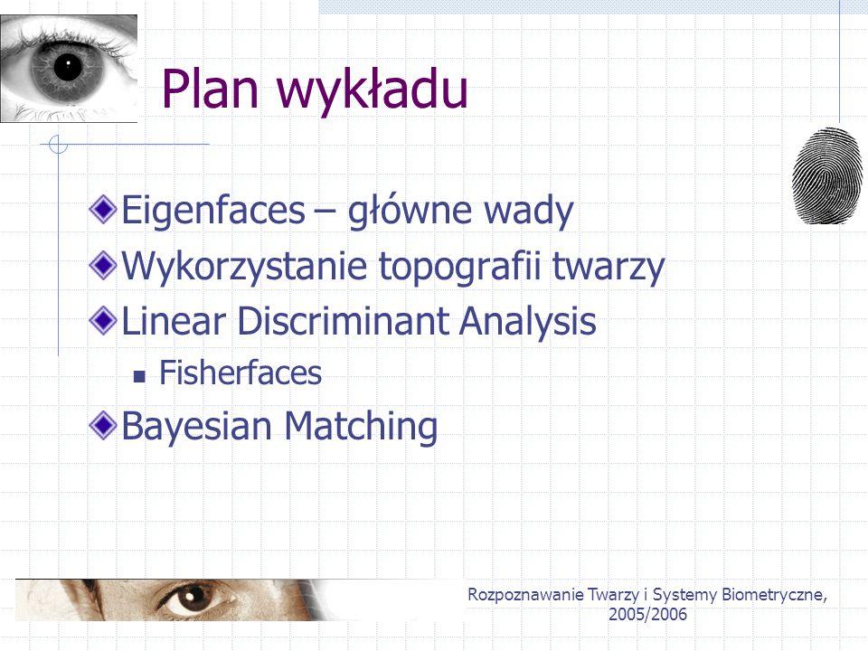 Rozpoznawanie Twarzy i Systemy Biometryczne, 2005/2006 Główne wady Eigenfaces Brak rozróżnienia pomiędzy cechami intra- i ekstra-personalnymi Większość różnic pomiędzy obrazami twarzy jest spowodowana zmiennymi warunkami oświetleniowymi (Y.Moses, 1994) różnice mimiki Twarz traktowana jako wektor utrata informacji 2D Podejście holistyczne twarz jako niepodzielna całość
