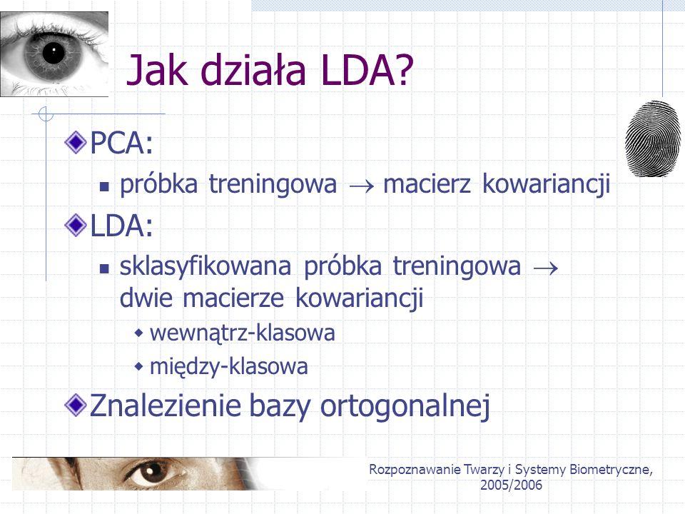Rozpoznawanie Twarzy i Systemy Biometryczne, 2005/2006 Jak działa LDA? PCA: próbka treningowa macierz kowariancji LDA: sklasyfikowana próbka treningow