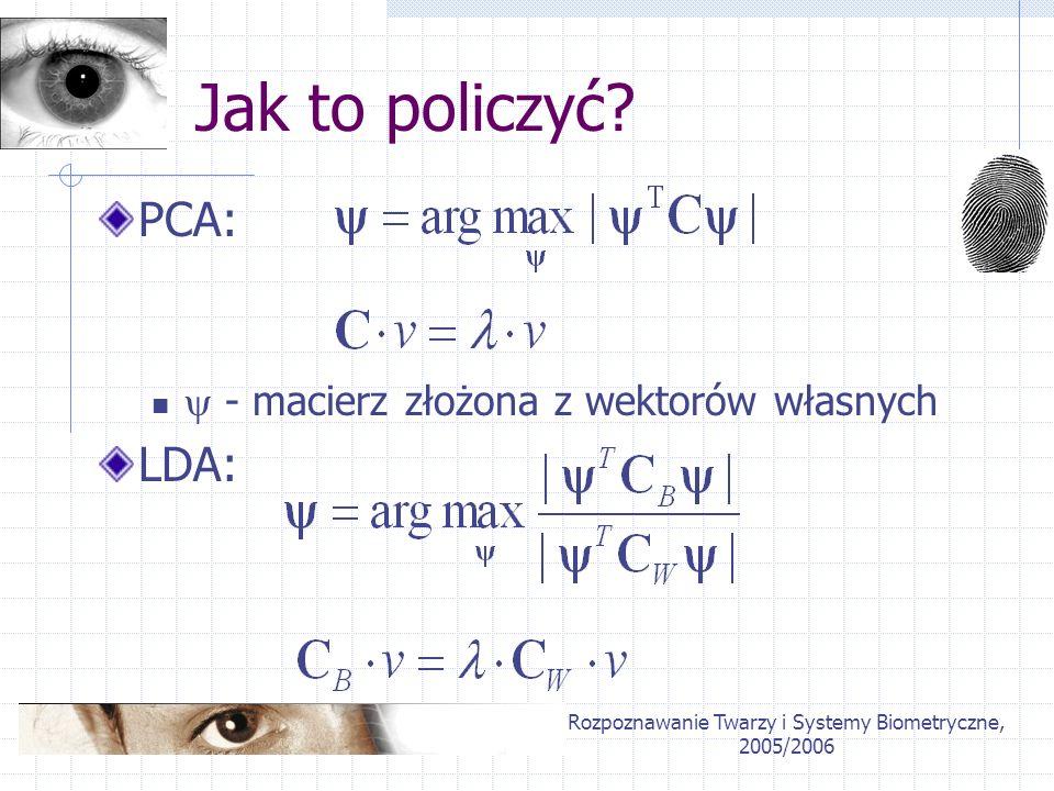 Rozpoznawanie Twarzy i Systemy Biometryczne, 2005/2006 Jak to policzyć? PCA: - macierz złożona z wektorów własnych LDA: