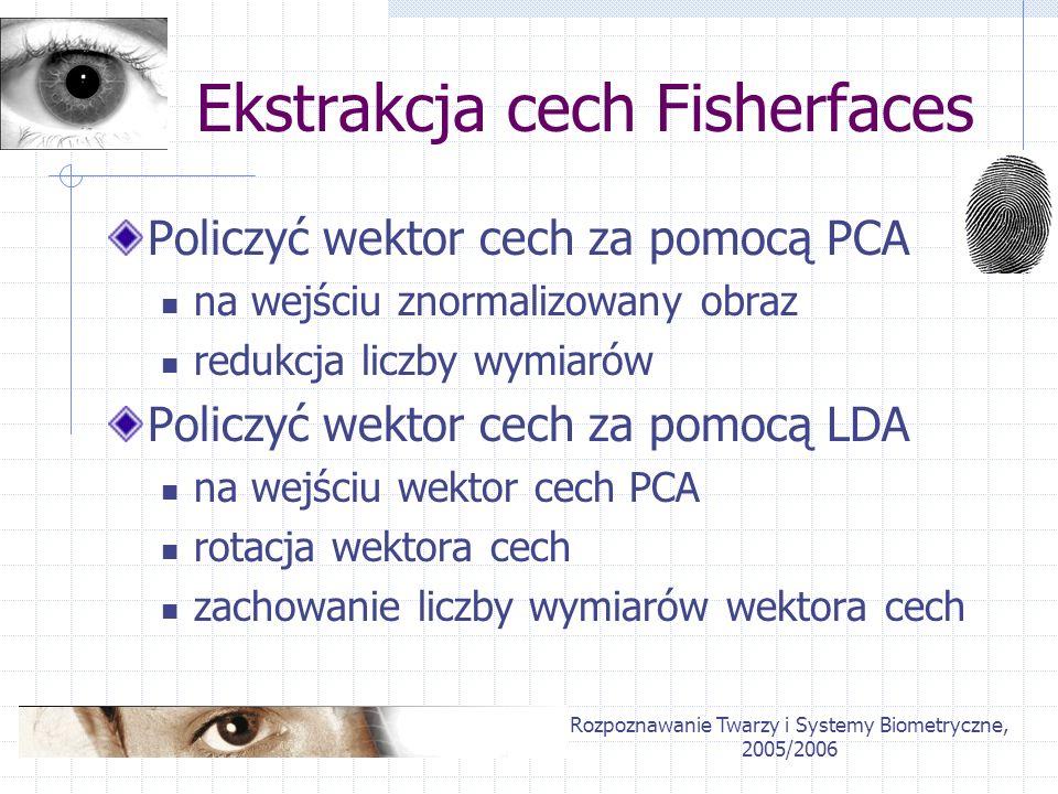 Rozpoznawanie Twarzy i Systemy Biometryczne, 2005/2006 Ekstrakcja cech Fisherfaces Policzyć wektor cech za pomocą PCA na wejściu znormalizowany obraz