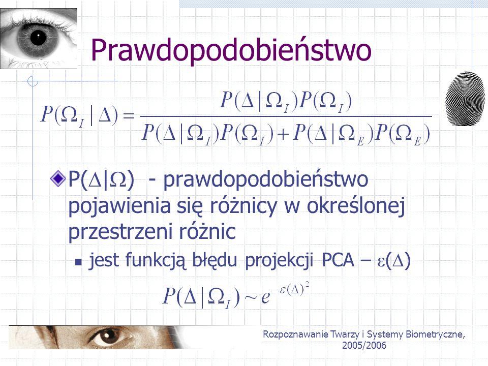 Rozpoznawanie Twarzy i Systemy Biometryczne, 2005/2006 Prawdopodobieństwo P( | ) - prawdopodobieństwo pojawienia się różnicy w określonej przestrzeni