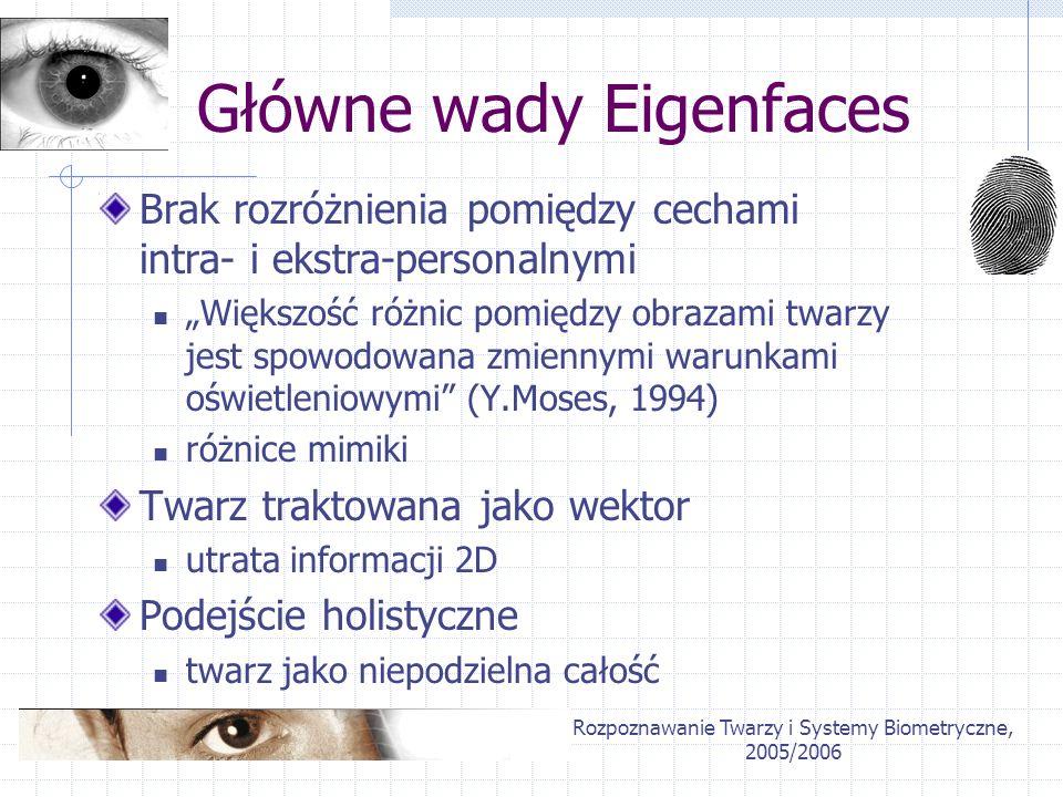 Rozpoznawanie Twarzy i Systemy Biometryczne, 2005/2006 Główne wady Eigenfaces Brak rozróżnienia pomiędzy cechami intra- i ekstra-personalnymi Większoś