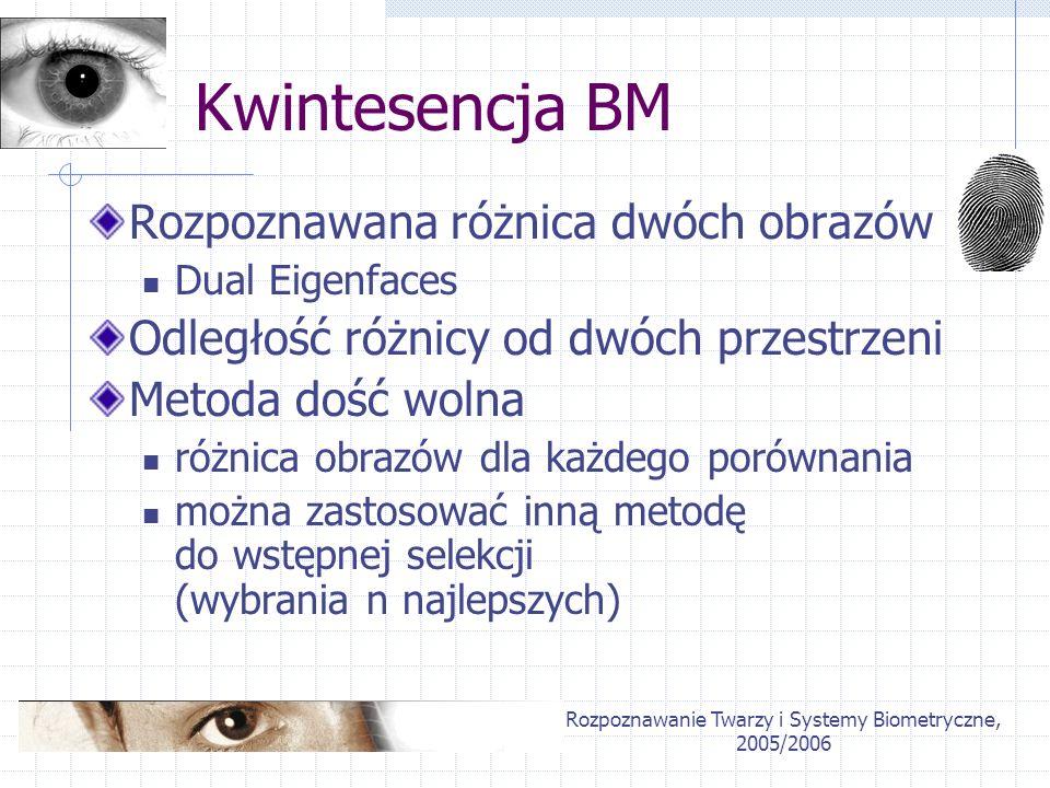 Rozpoznawanie Twarzy i Systemy Biometryczne, 2005/2006 Kwintesencja BM Rozpoznawana różnica dwóch obrazów Dual Eigenfaces Odległość różnicy od dwóch p