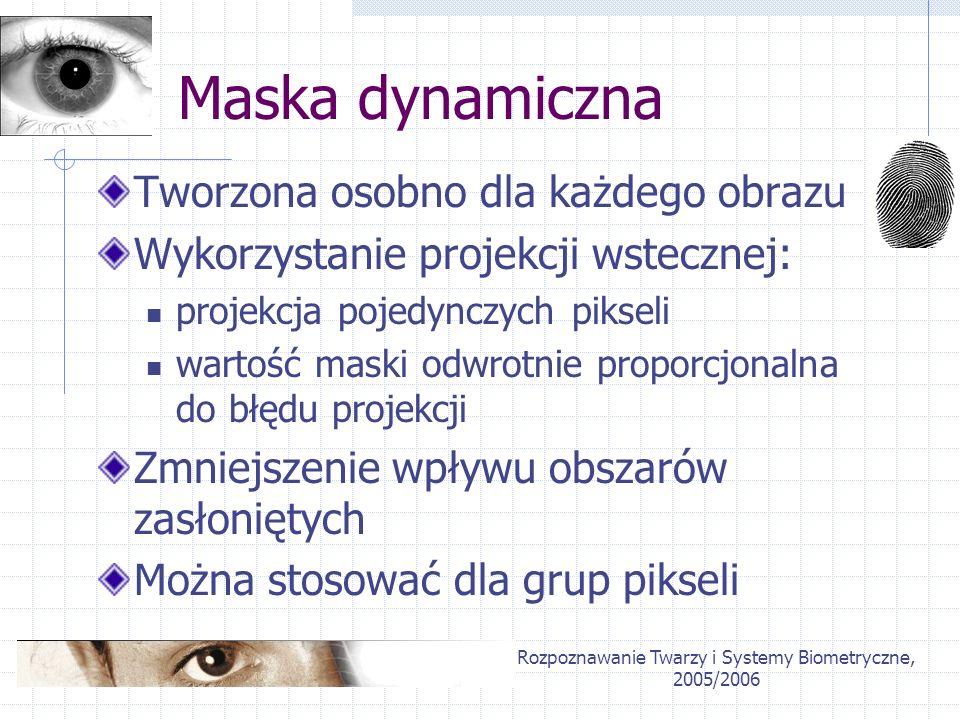 Rozpoznawanie Twarzy i Systemy Biometryczne, 2005/2006 Maska dynamiczna Tworzona osobno dla każdego obrazu Wykorzystanie projekcji wstecznej: projekcj