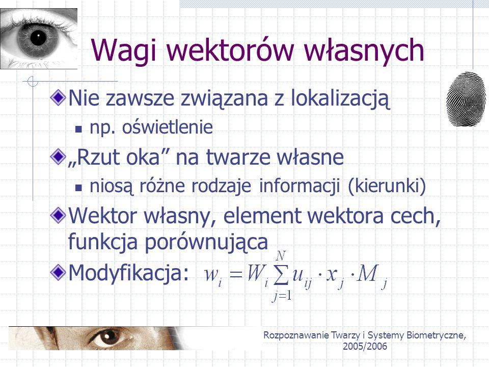 Rozpoznawanie Twarzy i Systemy Biometryczne, 2005/2006 Wagi wektorów własnych Nie zawsze związana z lokalizacją np. oświetlenie Rzut oka na twarze wła