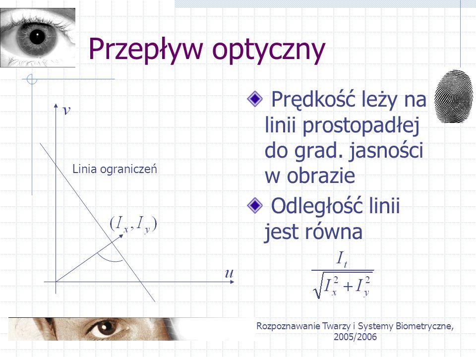 Rozpoznawanie Twarzy i Systemy Biometryczne, 2005/2006 Przepływ optyczny Prędkość leży na linii prostopadłej do grad. jasności w obrazie Odległość lin