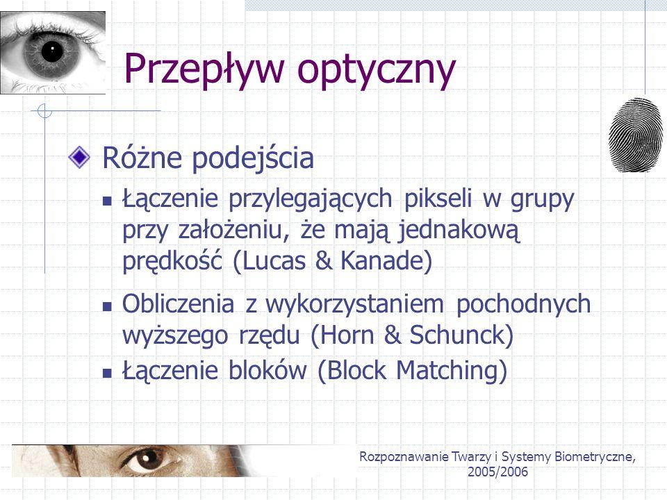 Rozpoznawanie Twarzy i Systemy Biometryczne, 2005/2006 Przepływ optyczny Różne podejścia Łączenie przylegających pikseli w grupy przy założeniu, że ma