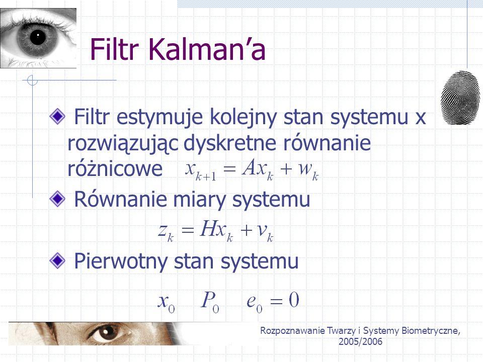 Rozpoznawanie Twarzy i Systemy Biometryczne, 2005/2006 Filtr Kalmana Filtr estymuje kolejny stan systemu x rozwiązując dyskretne równanie różnicowe Ró