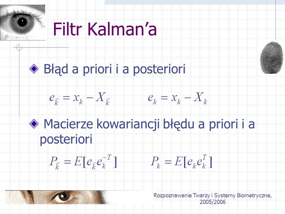 Rozpoznawanie Twarzy i Systemy Biometryczne, 2005/2006 Filtr Kalmana Błąd a priori i a posteriori Macierze kowariancji błędu a priori i a posteriori
