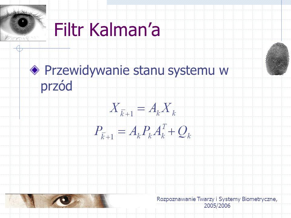 Rozpoznawanie Twarzy i Systemy Biometryczne, 2005/2006 Filtr Kalmana Przewidywanie stanu systemu w przód
