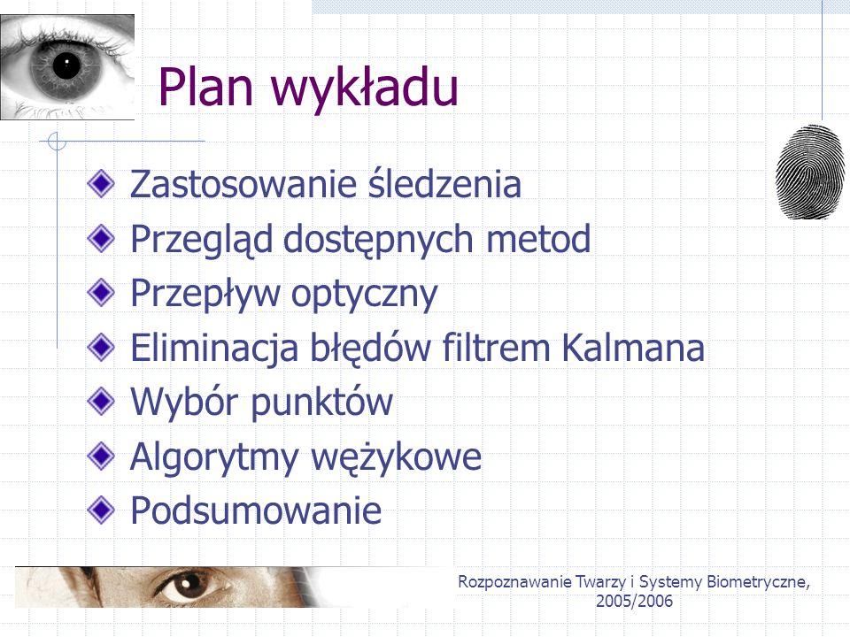 Rozpoznawanie Twarzy i Systemy Biometryczne, 2005/2006 Plan wykładu Zastosowanie śledzenia Przegląd dostępnych metod Przepływ optyczny Eliminacja błęd