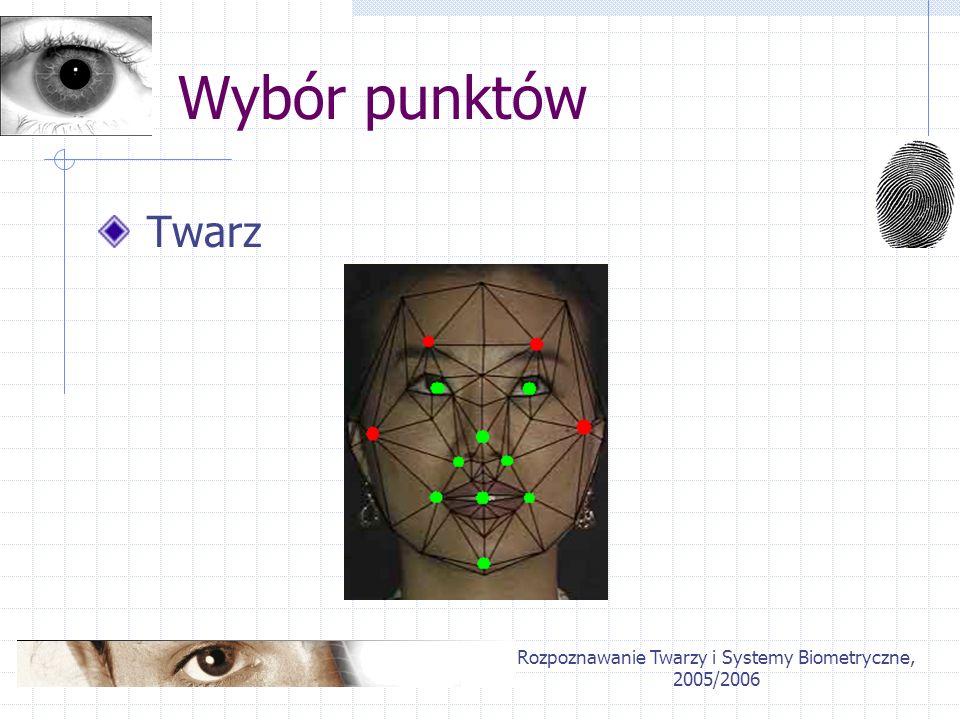 Rozpoznawanie Twarzy i Systemy Biometryczne, 2005/2006 Wybór punktów Twarz